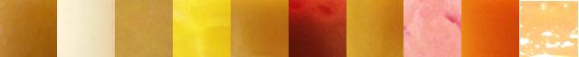 色だけでもこんなにちがう。紹介していった順に左からミックスジュースカラーチャート