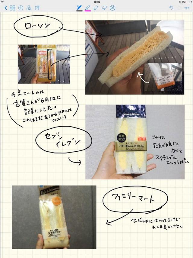 後日、送られてきた玉子焼きのサンドイッチをまとめたレポート。愛がすごい。