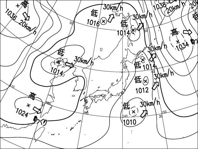 2013年11月16日。気象庁天気図。