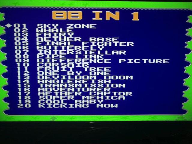 聞いたことのない英語のゲームタイトルが88個もずらりと並ぶ。