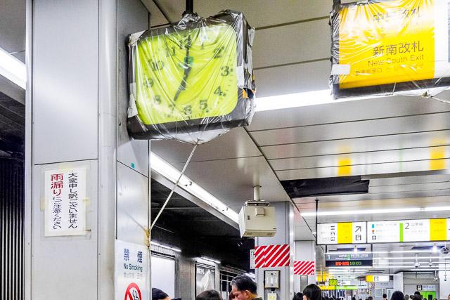 あと渋谷駅は「駅もれ」がすごかった。まるで時計がお漏らししているかのよう。