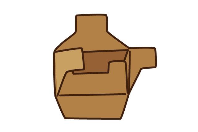 食器類にはこんな形の、底が組み立てられる箱が多かった。