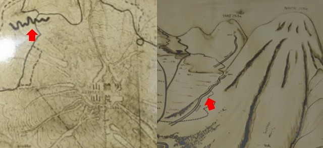 左がディスタンスコース図に書かれている太線。右が鳥瞰図に書いてあるスラロームコース(日光ニ於ケル冬季オリンピック施設計画書(栃木県)より)