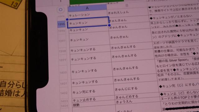 稲川さんの個人的な用例採集にも「きゅんきゅん」がいくつかあった