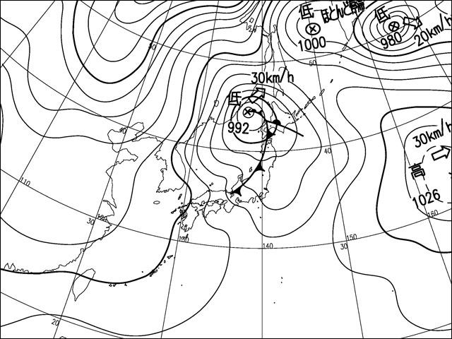2010年12月31日。気象庁天気図。