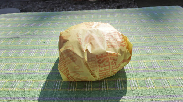 チーズバーガーでおいしく見えるか実験。
