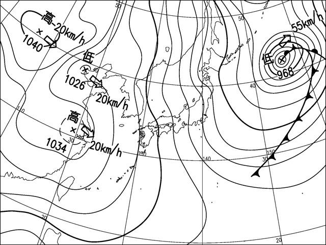 いずれも気象庁天気図。