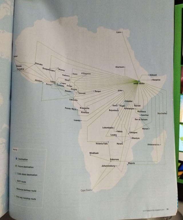 エチオピア航空はアフリカ大陸メイン。アジアはなんとなくわかるけどアフリカは勉強してなくてわからない名前ばかり。知らない世界が成田にもある。