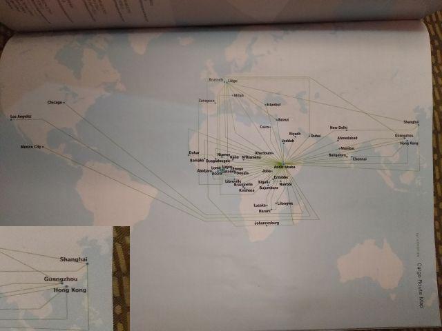貨物便のルートマップ。中国までは飛んでるけど、日本に飛ぶ便がないから地図にも日本がない…