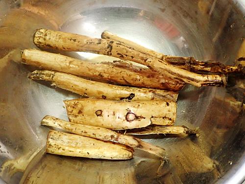 タワシでよく洗ったクズの根。やっぱりゴボウにしか見えないな。