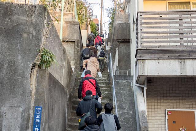 もちろんくだりだけではない。のどの部分のこの急でしかもかなり長い階段をのぼるのが今回の描画ハイライトであった。