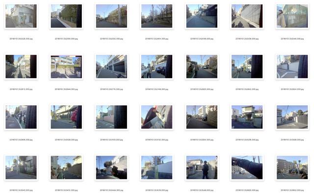 今回の道のりはおよそ8km。描くのにかかった時間は2時間半。つまりこの間に300枚ほどの写真が撮れている。