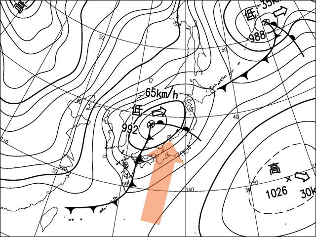 2016年2月14日。気象庁天気図。