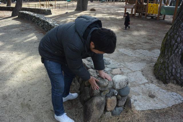 この石同士をくっつけているのがコンクリ(ート)だ。・・・コンクリについてきました!