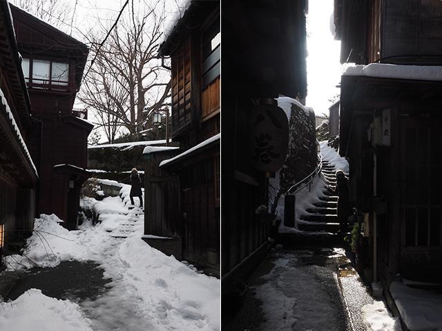 左が暗がり坂、右があかり坂。どちらも人知れず花街(茶屋街)に入れる裏道だ。