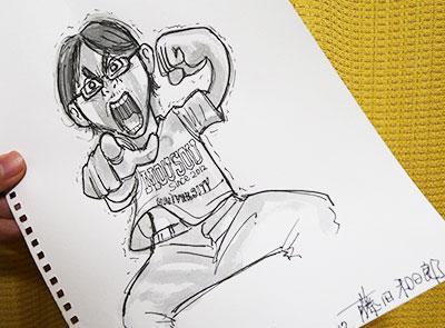 藤田先生に似顔絵も描いてもらった!