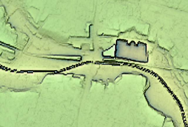 高井戸駅周辺の地形図。画像中心の一番低いところが高井戸駅(国土地理院「基盤地図情報数値標高モデル」5mメッシュをカシミール3D スーパー地形セットで表示したものをキャプチャ)