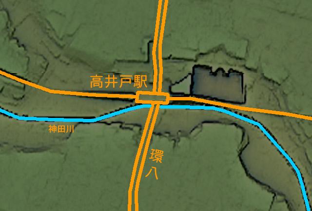 地形図に駅と道路の位置を書き込んだもの。上の地形図と見比べてください(国土地理院「基盤地図情報数値標高モデル」5mメッシュをカシミール3D スーパー地形セットで表示したものをキャプチャ・加筆加工)