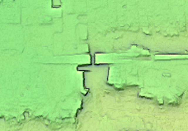 画像中心が中野駅(国土地理院「基盤地図情報数値標高モデル」5mメッシュをカシミール3D スーパー地形セットで表示したものをキャプチャ)