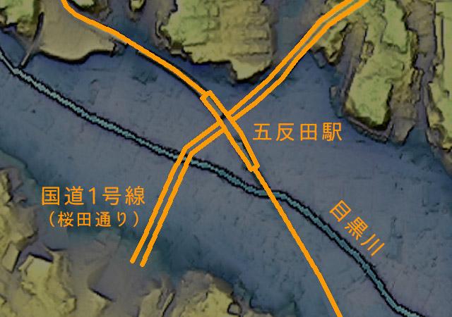 国道1号線は目黒川の土手を下り、横断してふたたび登っていく。そのときくぐるのが五反田駅というわけだ(国土地理院「基盤地図情報数値標高モデル」5mメッシュをカシミール3D スーパー地形セットで表示したものをキャプチャ・加筆加工)