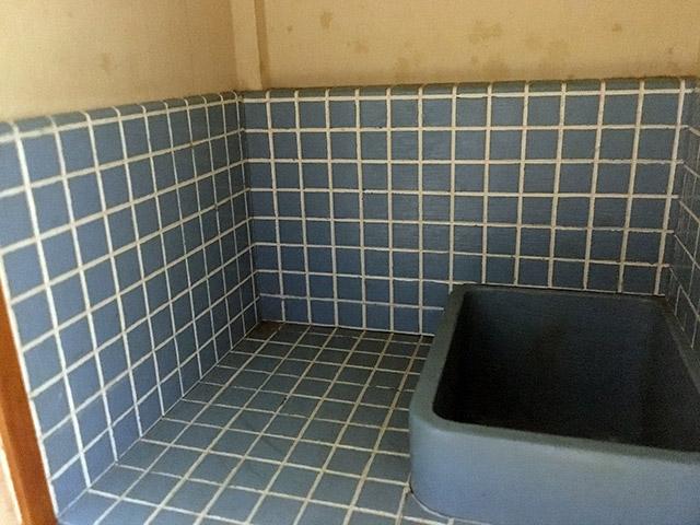 青いタイルや深い浴槽はまさに昭和の家
