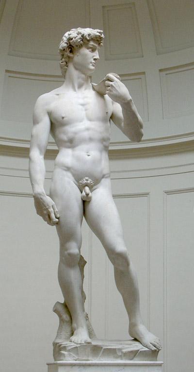 ビアンコカララでできたダビデ像(Wikipedia</a>より)