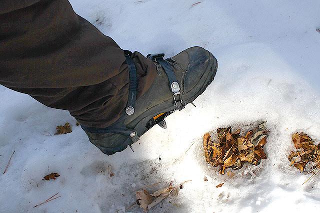 6本爪の軽アイゼン。簡単な雪山はこれで歩けます。