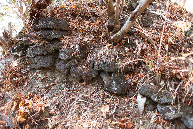 明らかに人が積んだ、溶岩の石垣。