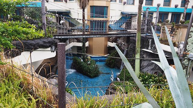 で、2階部分へ。ジャングルみたいな中につり橋がかかっている。
