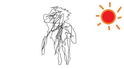 映像を見つけてシャドーをペイントで描いてみたら、あまりにも不気味過ぎたので太陽も描きました。変に不気味な絵になった。