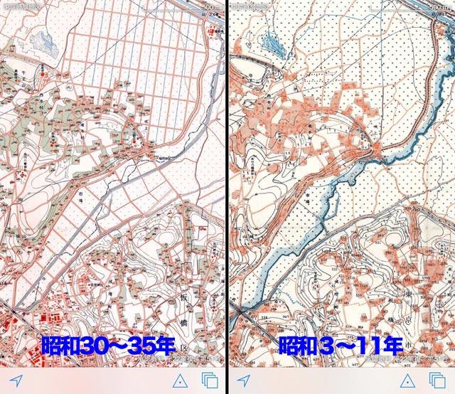 昔の蛇行している白子川(『東京時層地図』より)