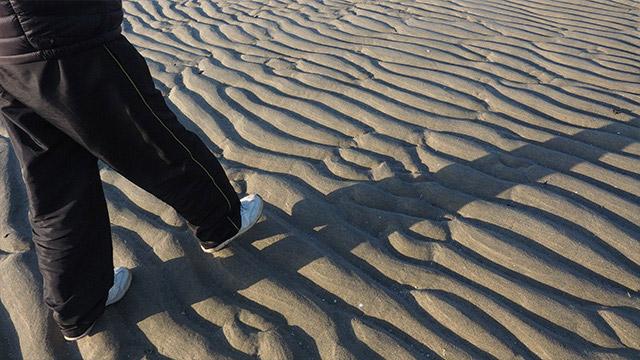 青竹ふみのように盛り上がっている波紋。干潮の時間帯で遠浅の浜辺に見られる。私は初めて見た。