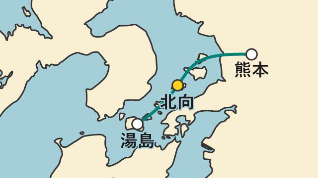 JR湯島線は有明海の島々を結ぶ海上の路線である