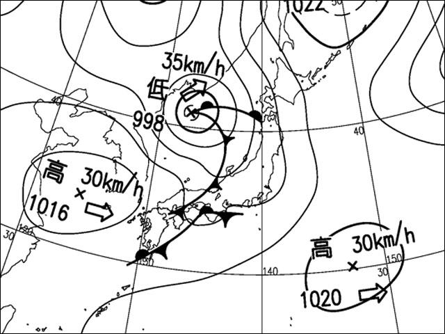 2015年4月17日朝。気象庁天気図。