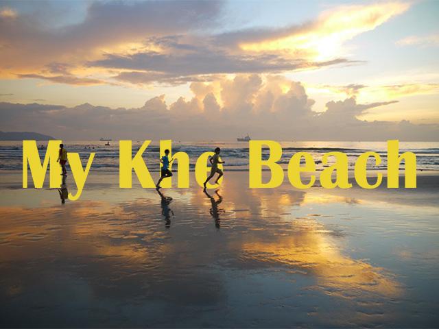 朝焼けの浜辺を走る人影に、ビーチ名をくぐらせた。