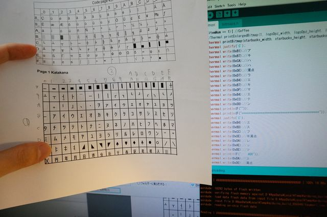 文字部分もコード表を見ながらプログラムに書きこむ