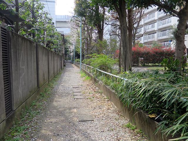 線路際っぽい柵と小径という感じ