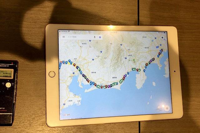 なお栗原さん、GoogleMapsでお気に入りの車窓風景をマッピングしている。これまでに撮影した写真は数十万カットにもおよび、ピンの数もすごいことになっている