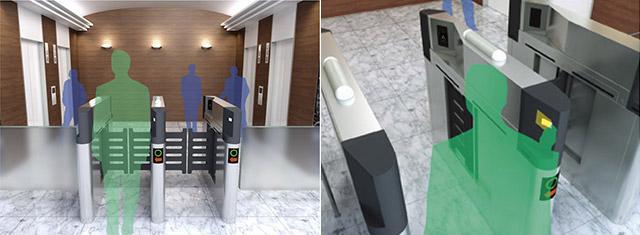 セキュリティーゲートと連動するタイプもある。カードに自席のフロアを登録しておけば、ゲートでピッ!とした瞬間にエレベーターを呼んでくれる。手間いらず。