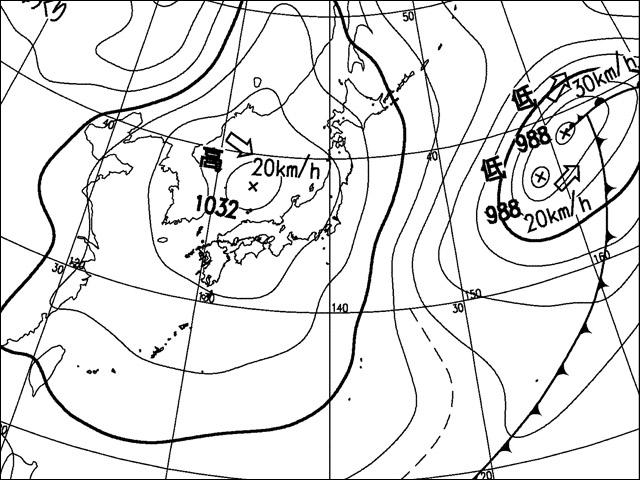 2010年3月30日朝。気象庁天気図。