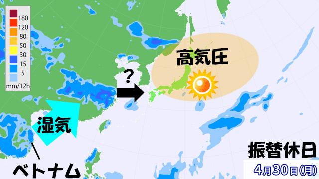 雨雲の予測。ベトナム周辺からの湿った風が強まると、今の予報より雨雲が早く近づくことに。