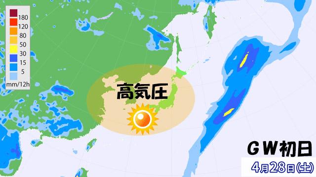 空気をちゃんと読んだかのように、ゴールデンウィーク(GW)初日は高気圧に広くおおわれる。何日つづくか?