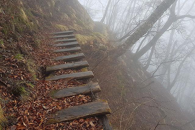 木の橋も濡れていて滑りやすいし、落ちたら死ぬ。