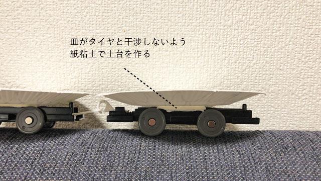 車両に乗せる際は、紙粘土で土台を用意しよう