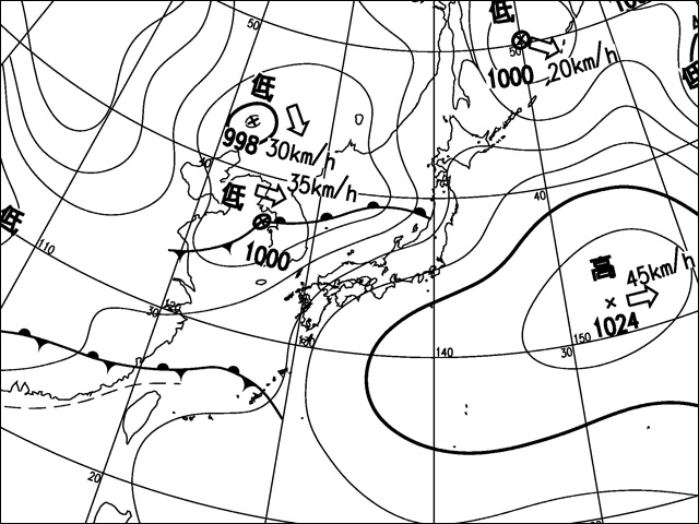 2011年4月30日。気象庁天気図。