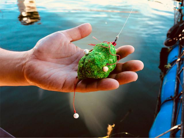 お隣さん直伝の仕掛け。緑色の練りエサ(パンダンリーフが練りこまれているようでとても甘い香りがする)の中には釣り針が何本も仕込まれている、いわゆる吸い込み仕掛け。