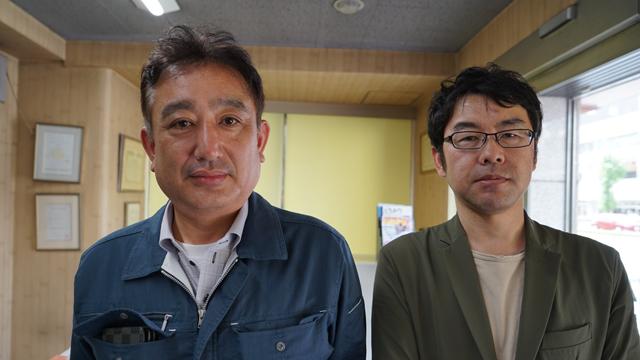左が永田社長。カメラが近いツーショットでどうぞ。