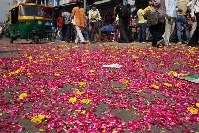 インド写真6、『選挙期間中だったようで、いたるところで選挙演説が行われていました。道に落ちているのは候補者と支持者がまいた花です。演説が終わっても特に誰も片付けません』