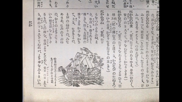 『日本大辭林』江戸時代、正月になると、この宝船が描かれた紙を買ってきて、マクラの下に入れて初夢をみるという風習があったらしい