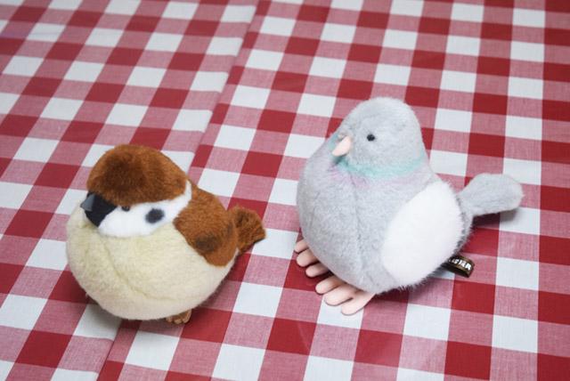 スズメ(左)とドバト(右)